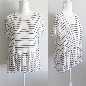 Abound Striped Lightweight Ruffle Peplum Boxy Tee